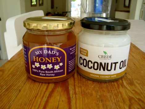 Yummy local raw honey and  virgin coconut oil.