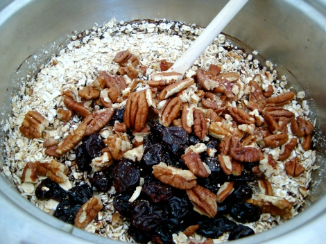 Add oats and optional extras. I used pecans and dried cherries but plain is just as delicious.