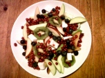 Dessert: Fresh pomegranate, blueberries, kiwi, nectarine, plum, green apple, and fresh coconut.