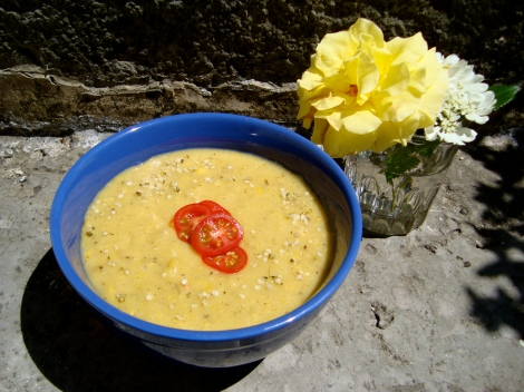 Roasted Potato and Corn Soup...with a dash of local French flavour.