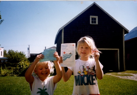 My first swimming certificate--I'm the little one.